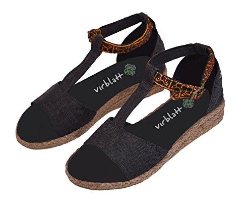 (virblatt Hanf Sommer Sandalen Damen mit Keilabsatz und handgefertigter Verzierung in Schwarz und Pink Hippie Schuhe Größe 36 37 38 39 40 41 – Sinnlich bk 36)