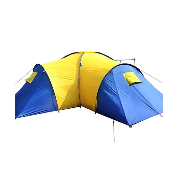 Peaktop 3 Bedrooms 1 Large Living Room 8 Persons Camping Tent Family Group Double Poles Hiking Beach Outdoor Tunnel Dome 3000mm Waterproof &UV Coated Bright Color 1 Year Warranty (5 Shapes) 4