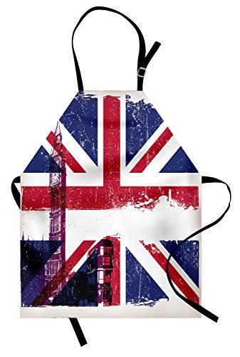 Abakuhaus Union Jack Kochschürze, Grungy gealterter BRITISCHER Flagge Big Ben Double Decker-Land-Kultur-historischer Markstein, Farbfest Höhenverstellbar Waschbar Klarer Digitaldruck, Mehrfarbig