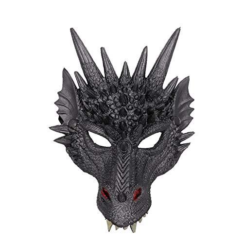 Kinder Mardi Kostüm Gras - Yamer 3D Weiche Halbmaske Drache Cosplay Maske Kostüm - für Kinder Teens Halloween Maskerade Party Mardi Gras 11.81x 8.26 inch