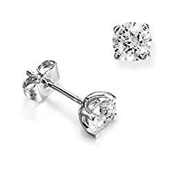 Abelini 1.00 Carat Certified 100% Natural Round Diamond Stud Earrings for Women In 18K White Gold