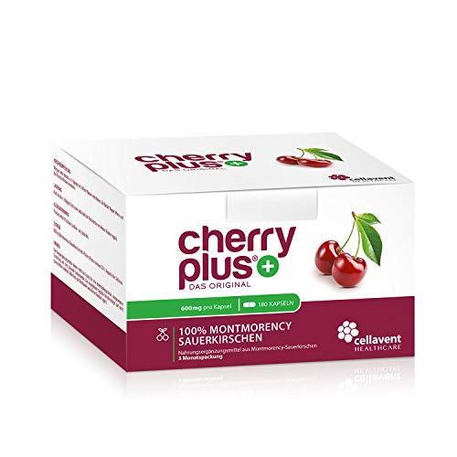 Cherry PLUS - Das Original. Montmorency Sauerkirsche: maximale Konzentration (50:1), naturrein und vegan. OHNE Zusatzstoffe und Zuckerzusatz von Cellavent Healthcare GmbH - 180 Kapseln