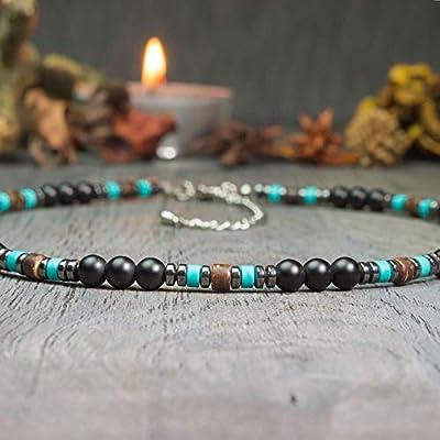 Collier Homme/Femme Taille 45-52cm Bijoux Haut de Gamme perles pierre Naturelle Véritable Turquoise stabilisée Agate/Onyx noir 6mm bois coco hématite métal inoxydable COLLIMAS17
