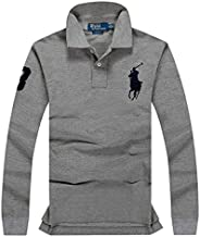 Polo Ralph Lauren Mens Polo Shirt Slim Fit Mesh Big Pony Embroidery Long sleeve