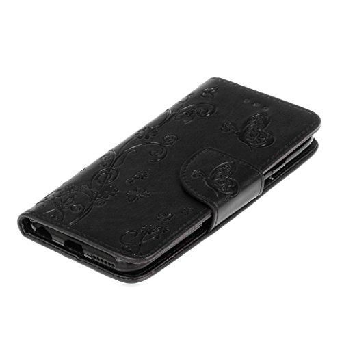 iPhone 6Custodia, iPhone 6S Custodia, con protezione per lo schermo in vetro temperato] antigraffio, fatcatparadise (TM) Custodia posteriore in silicone morbido, elegante vintage fiori pressati Bloom Black