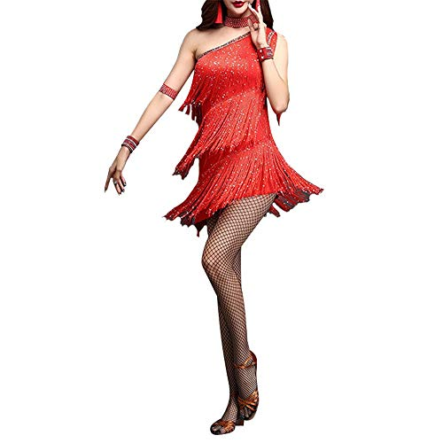 Taidallo Funkelnde Quasten Latin Dance Kleid Outfit One Shoulder Tango Rumba Dancewear Perlen Fringe Flapper Kostüme Bühnenperformance (Farbe : Rot, Größe : M)