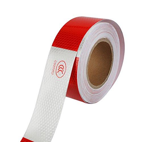 Larcele Reflektierende Tape Warning Safety Aufkleber Roll Streifen 2 Zoll x 98 Fuß FGJ-01 (Silberweiß mit Rot) (2 1 Roll-klettverschluss Zoll)