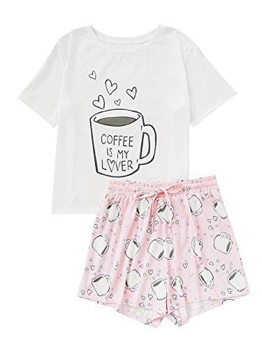 DIDK Damen Schlafanzüge mit Kaffee-Druck Shirts und Shorts Pyjama Set Weiß S