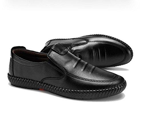 GRRONG Herren Lederschuhe Echtes Leder Freizeit Breathable Schwarz Braun Black