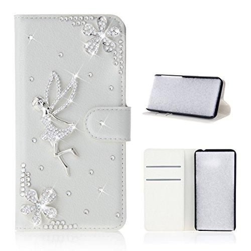 Meizu Pro 7 Hülle, PU-Leder Handytasche Brieftasche Shell Strass-Design Handyhülle Flip Stand Stoßfestes Telefon Folio Cover mit Magnetver schluss für Meizu Pro 7 (Angel Girl)