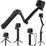 FitStill 3 Way Tripod for GoPro Hero 10/9/8/7/6/5/4/3/2/1 Session and other Action Cameras, Detachable Extendable Selfie Stic