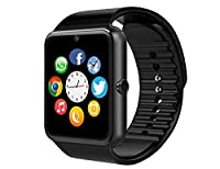Smart Watch, 11LOVE Sweatproof Touch-Screen Bluetooth Smartwatch Fitness Wristwatch Watch Phone for Samsung S5 S6 Note 4 5 HTC Sony LG and iPhone 5 5S 6 6 Plus Smartphones (Black)