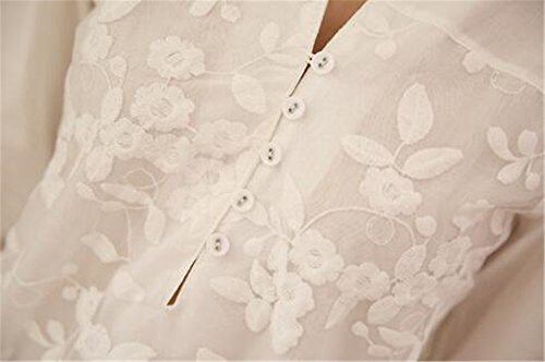 Gogofuture Long Blouse Col V Femme Floral Haut Moulant Sexy Chemisier Manches Longues T Shirt ElÉGante Casual Tunique Top Classique white