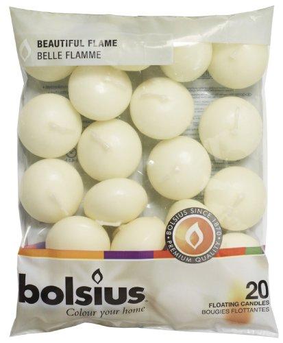 Bolsius 103632053705 -candela galleggiante, in cera di paraffina, colore: avorio