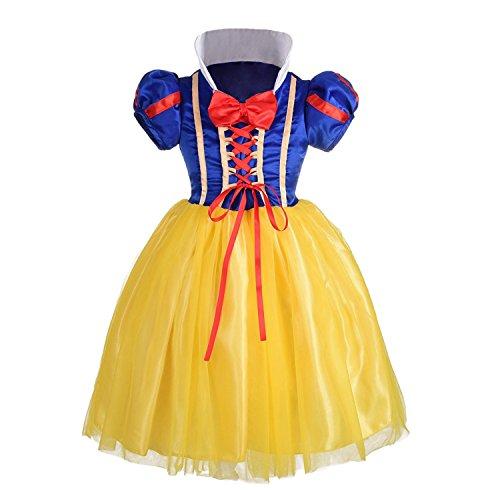 ALEAD Mädchen Schneewittchen Kleidung Maskenkostüm Verkleidet Allerheiligen Party (5-6) (Allerheiligen Kostüm Mädchen)