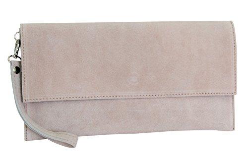 AMBRA Moda Pochette da giorno da donna Borse a mano clutch in vera pelle scamosciata WL811 (rosa antico)