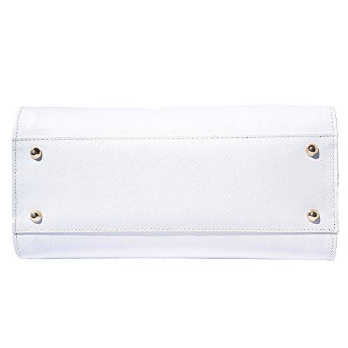 Borsa a mano in pelle Saffiano 8060 Bianco