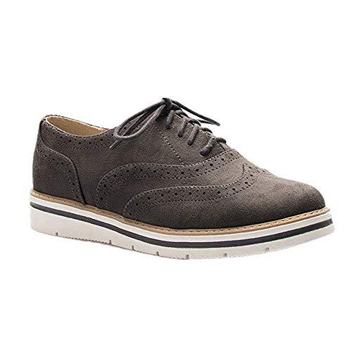 Rioneo Damen Schnürschuhe Oxford Schuhe Feminine Brogues Flache Freizeit Vintage Schnürer Schuhe Schwarz Pink Grau Blau Brown 35-43 Grau 39 Damen Oxford