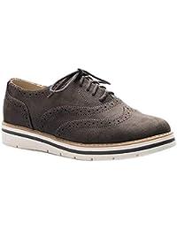 4cf511062f5 Zapatos Planos con Cordones Mujer Brogue Zapato Talón Plano Gamuza Colores  Manera Tallas Grandes Botas Negro