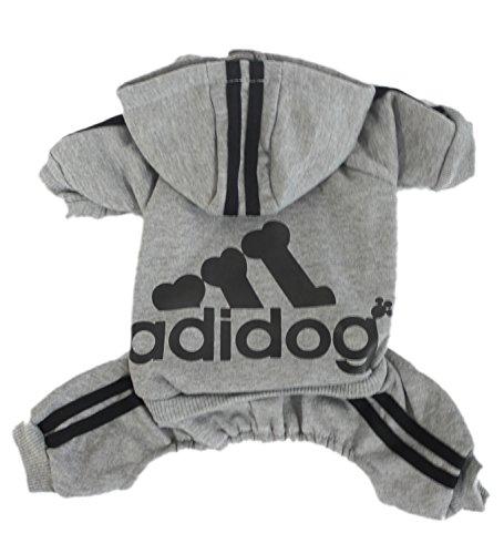 Zehui Haustier Hund Warmen Vier Beine Hoodies Welpe Pullover T-shirt Kleidung Winter-Pullover Bekleidung Grau XXL