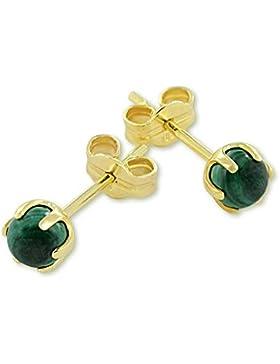 VASCAYA Damen Ohrstecker Ohrring echter Malachit grün 4 mm Gold 333 Geschenk