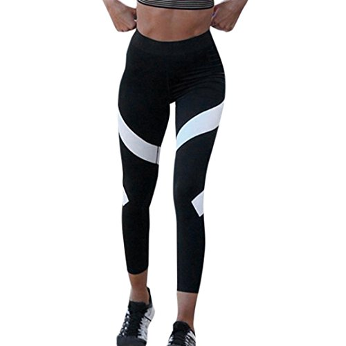 Yogahose Damen URSING Spleißen Dünn Trainieren Fitnessstudio Yoga Gamaschen Fitness Sport Abgeschnitten Hose Sport Leggings Yoga Pants Knöchellang Elastisch Jogginghose (XL, Schickes Schwarz) (Hose Abgeschnitten Adidas)