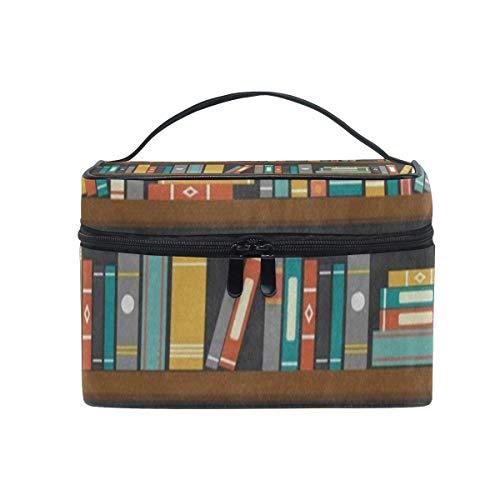 Kosmetiktasche, Make-up Tasche, Cosmetic Bag Cartoon Library Book Shelf Bookworm Womens Makeup Organizer Girls Toiletry Case Box Lazy Zip Bag -