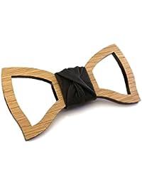 GIGETTO Papillon in legno fatto a mano con nodo in ecopelle nero. Farfallino artigianale. Cinturino regolabile. Limited Edition BASIC