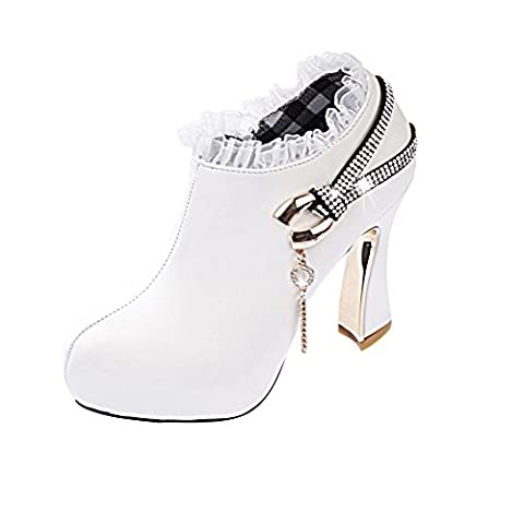 Verocara Women's Fashion Platform High Heel Spring and Autumn Lace Ankle Boots Pump Shoes White 6.5