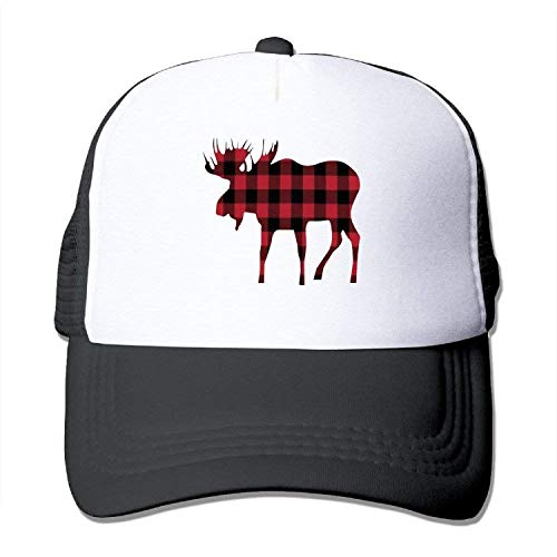 ENGDINGXIANPUZHAIWUJI Cool Buffalo Plaid Moose Lumberjack Red Black Mesh Hats,One Yard,Schwarz