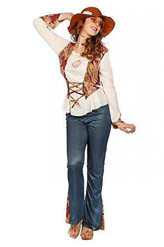 shoperama Hippie Piece Damen-Kostüm mit Jeans-Schlaghose 60er 70er Jahre Seventies Sixties Flower Power, (Kostüm Sixties)