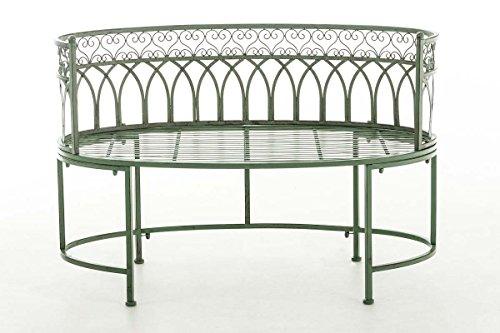 CLP Metall-Gartenbank AMANTI mit Armlehne, Landhaus-Stil, Eisen lackiert, Design antik nostalgisch, Form oval ca. 110 x 55 cm Antik Grün - 2