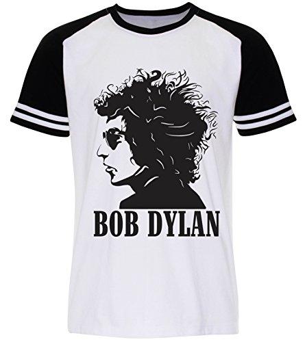 PALLAS Men's Bob Dylan Folk Musician T Shirt -PA290 White Sleeve Black
