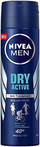Männer-deo Spray (NIVEA MEN Dry Active Deo Spray im 6er Pack (6 x 150 ml), Antitranspirant mit starkem und zuverlässigem Deo-Schutz, Deodorant mit 48h Schutz)
