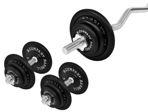 Guss Hantel-Set 67Kg (1 x SZ-Hantelstange 120cm, 2 x Kurzhantelstange 35cm , 4x1,25, 4x2,5, 4x5 und 2x10Kg Hantelscheiben) Hantel Gewichte Kurzhanteln Hanteln Scheiben