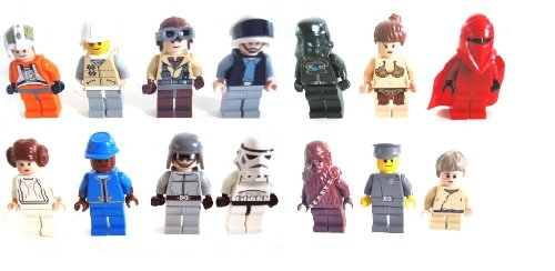 LEGO Star Wars - 14 verschiedene Minifiguren : Bespin Guard,Imperial Officer, Chewbacca, Hoth Rebel 2, Royal Guard, Anakin, 2 x Leia, Stormtrooper, Tie Fighter Pilot, Rebel Scout Trooper, Naboo Fighter (Guard Imperial Star Wars)