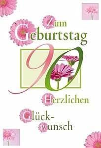 Gerbera 90e anniversaire carte geburtstagstage ronde, avec enveloppe format b6-lIVRAISON gRATUITE personnalisation possible, en format portrait, 12,5 x 17,6 cm orné vert/rose-film de protection d'écran
