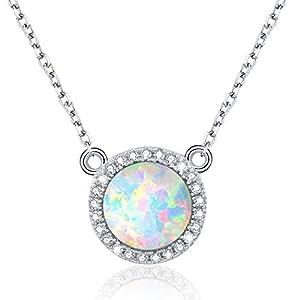 Opal Halskette,Opal Schmuck 925 Sterlingsilber Runde Halskette für Frauen Mädchen mit Kette 45,7 cm