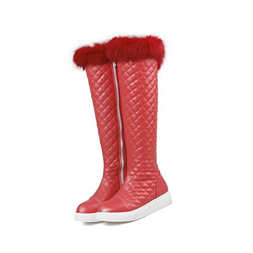 Voguezone009 Femme Taille Moyenne Zipper Low Heel Round Toe Red Boots