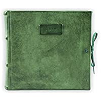 Album Foto in Pelle, Professionale, Con Veline, Verde, H20xL20, Collezione Leather, Hand Made in Italy by Legatoria Toscana, Artigiani Toscani