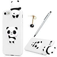iPhone 7 Case,iPhone 8 Case, Badalink 3D Cute Soft Silicone Toy TPU Cover Case Flexible Rubber Bumper Case Grip Shell Funny Case For iPhone 7/iPhone 8 with 1 Touch Pen & 1 Dust Plug,Panda 1