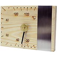 Saunathermometer Luxus Sauna Thermometer mit Edelstahlleiste Nadelholz