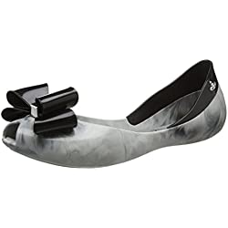 Melissa X Vivienne Westwood Women's Queen Bow 17 Flat Smoke Marble Size 7