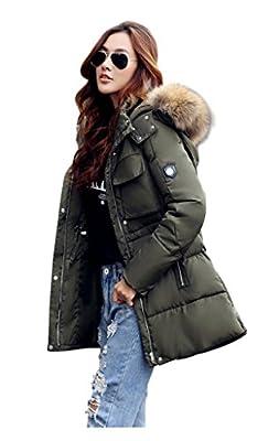 BOMOVO Damen Frauen Winter Mantel Gesteppt Bauschig Fell Kragen Kapuzen Parka Jacke