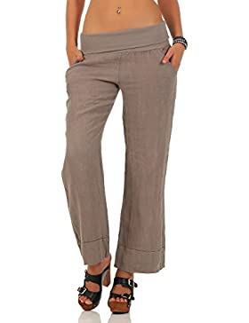 Malito Pantalones de Lino Estilo Clásico Pantalones de Verano 8076 Mujer