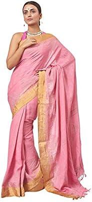 Biswa Bangla Women's Jacquard Linen Saree Without Blouse Piece (BBHS-1029_P