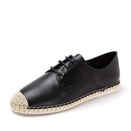 Primavera pescatore scarpe cinturino/Scarpe di assetto di corda/Appartamento casuale scarpe Nero