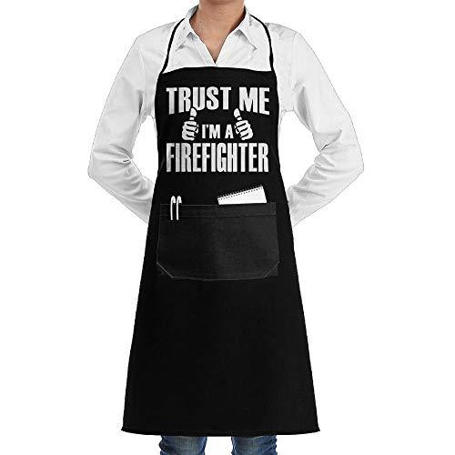 Drempad Schürzen Trust Me I'm A Firefighter Adjustable Neck Bib Aprons with Front Pocket for Men Women Grau Bib