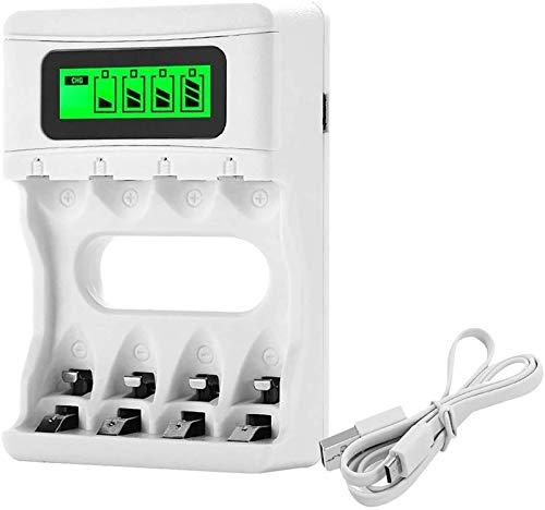 Bonai caricabatterie ricaricabili stilo aa/ministilo aaa con lcd display porta usb per batterie ni-mh ni-cd