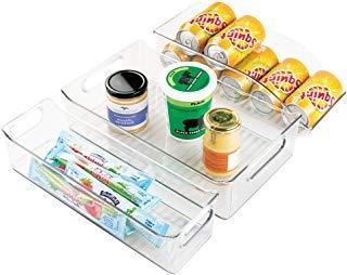 mDesign Juego de 3 organizadores de cocina – Contenedores plásticos para nevera, despensa y armario de cocina – 2 cajas apilables para alimentos y 1 caja de plástico para latas – transparente
